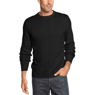 John Ashford Ribben Cotton Drop Needle Crewneck Sweater Deep Black