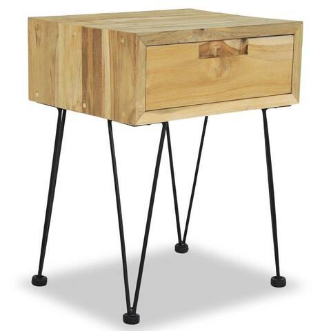 Solid Teak Bedside Cabinet Nightstand