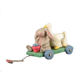 Springhaven Lake Figurine Bunny and Duck Wagon by Russ