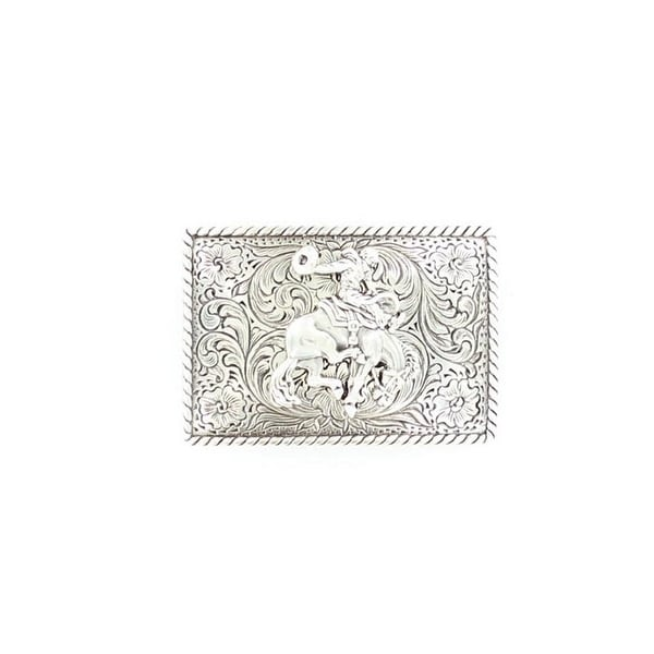 Nocona Western Belt Buckle Rectangle Bronc Rider Silver - 2 x 3