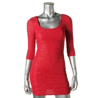 Material Girl Womens Juniors Crinkled Metallic Party Dress