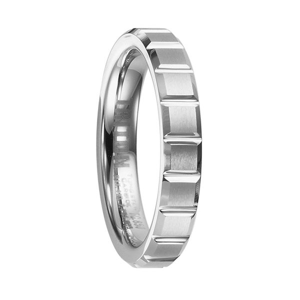 EVA Women's Beveled Tungsten Ring with Brush Finished Center and Horizontal Cuts by Triton Rings - 4 mm
