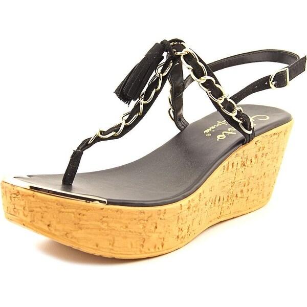 Callisto Tamtam Women Open Toe Synthetic Black Wedge Sandal