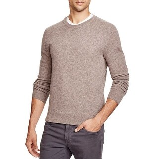 Bloomingdales Mens Toasted Almond Cashmere Crewneck Sweater Medium Elbow Patches