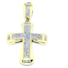 1/4cttw Diamond Cross Pendant 10K Yellow Gold 37mm Tall Pave Set (0.25cttw)