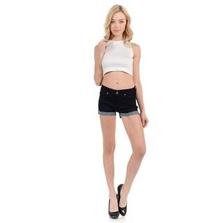 Sweet Look Women's Shorts - Denim -WG0220 - Color - Black - Size - 0