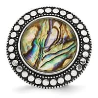 Chisel Stainless Steel Polished and Antiqued Synthetic Abalone Ring