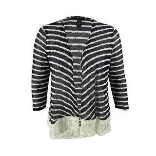 Style & Co. Women's Striped Lace Hem Cardigan Sweater - l