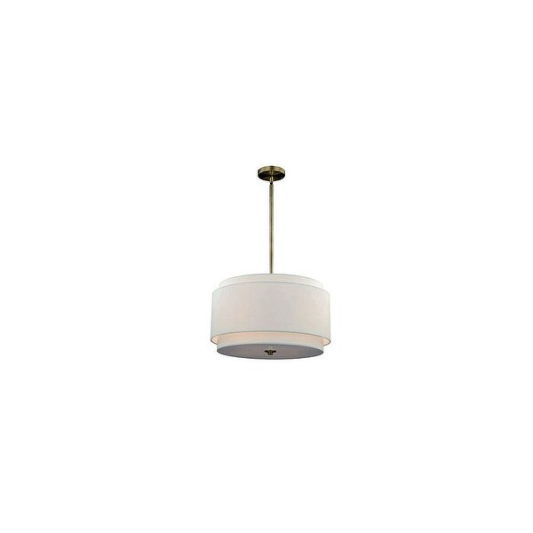 Vaxcel Lighting P0192 Burnaby 4 Light Pendant with White Fabric Shade - matte brass
