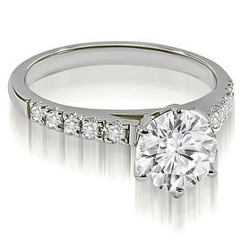 0.70 cttw. 14K White Gold Cathedral Round Cut Diamond Engagement Ring