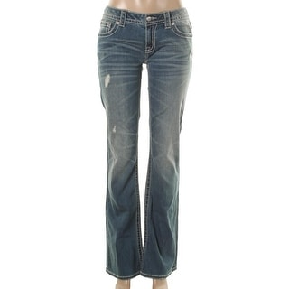 Miss Me Womens Embellished Distressed Bootcut Jeans