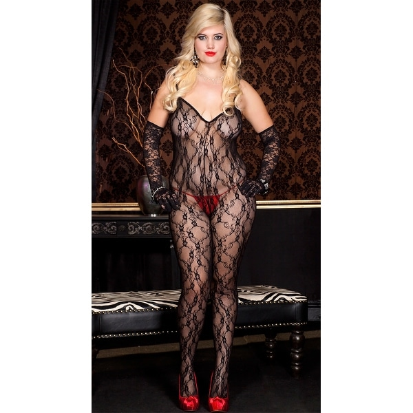 96f4c6032b3 Shop Plus Size Lace Crossed Back Bodystocking - Ships To Canada ...