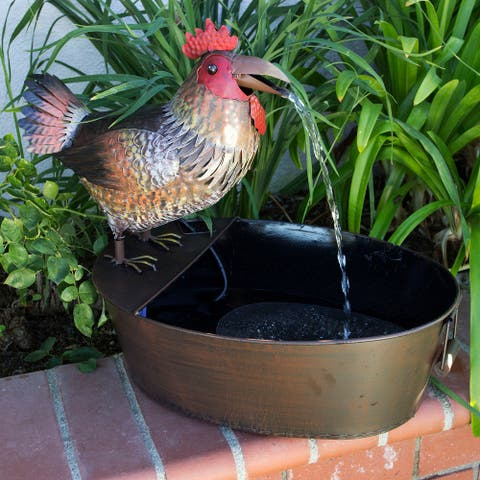 Alpine Metal Rooster on a Tin Fountain, 20 Inch Tall