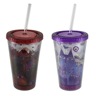 Laurel Burch Fantasticats & Indigo Cats Design 16 Oz. Tumbler Set of 2