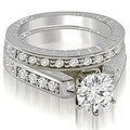 1.05 cttw. 14K White Gold Antique Cathedral Round Cut Diamond Bridal Set - Thumbnail 0
