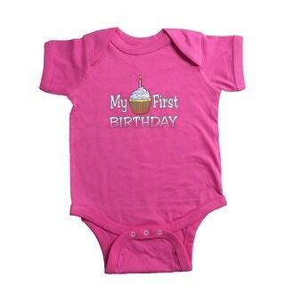 Nicky Noodles Baby Girls' My First Birthday Short Sleeve Bodysuit