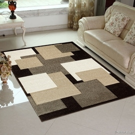 "Allstar Brown Modern Geometric Brown square design Area Rug (3' 9"" x 5' 1"")"