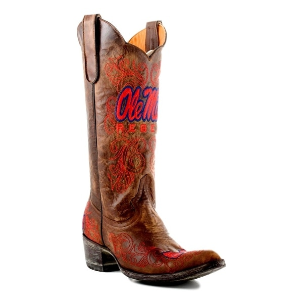Gameday Boots Womens College Team Mississippi Rebels Brass