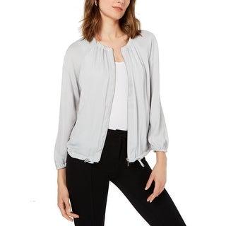 Alfani Women's Jacket Silver Gray Size Medium M Drawstring Zip Front