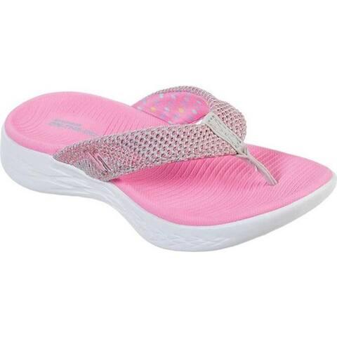 25e090cb5eea Skechers Girls' On the GO 600 Power Strides Thong Sandal Gray/Pink