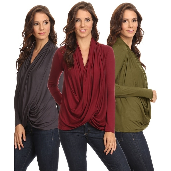 Sharon's Outlet 3 Pack Women's Long Sleeve Criss Cross Cardigan Small to 3XL Made in USA - burgundy/gunmetal/olive
