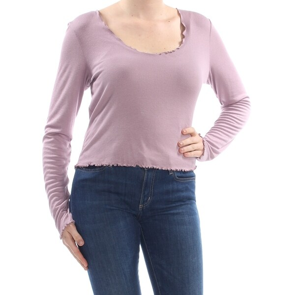 9aabd5d61942 Shop GUESS Womens Purple Ribbed Long Sleeve Scoop Neck Crop Top Top Size:  XL - Free Shipping On Orders Over $45 - Overstock - 28254069