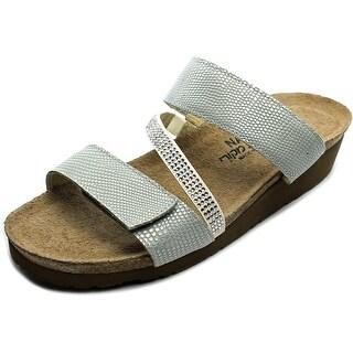 Naot Sheryl Women Open Toe Leather Blue Slides Sandal