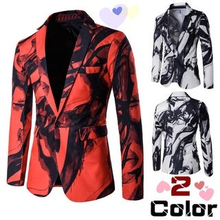 Stylish Men's One Button Long Sleeve Print Blazer Coat Business Casual Jacket