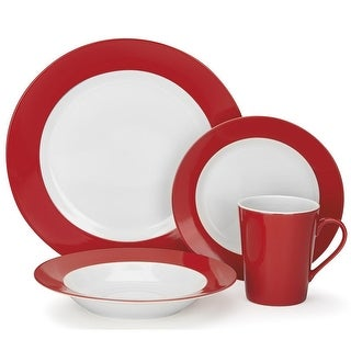 Cuisinart CDP01-S4WR Rialle Collection 16-Piece Porcelain Dinnerware Set - Red White