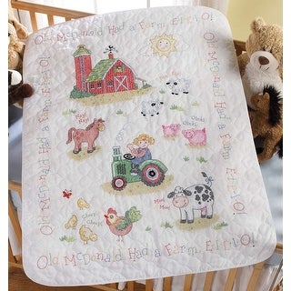 """On The Farm Crib Cover Stamped Cross Stitch Kit-34""""X43"""""""