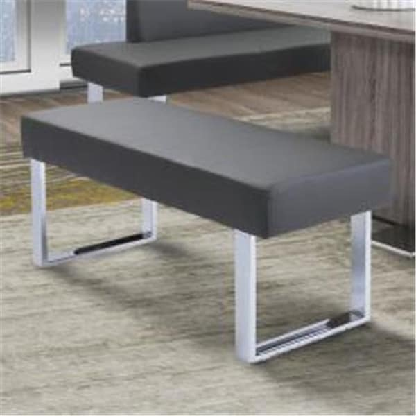 Amanda Contemporary Dining Bench In Gray Faux Leather Chrome