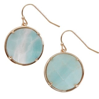 Humble Chic Round Semiprecious Simulated Gemstone Dangles - Faceted Statement Hook Drop Earrings