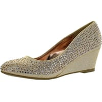 Kiss & Tell Nicki-23 Women's Round Toe Glitter Slip On Wedge Pumps