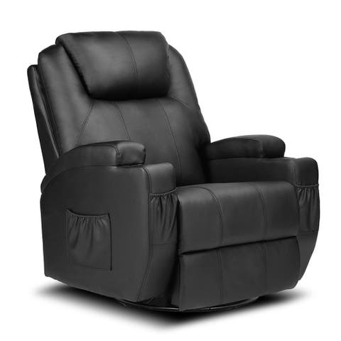 Leather Massage Chair Full Body Recliner Chair Single Sofa Black