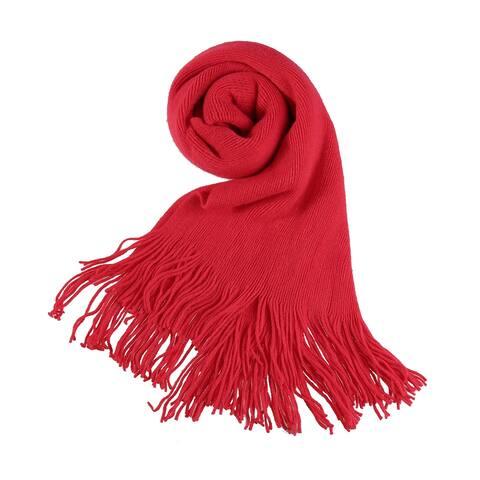 Women Shawl Wrap Warm Scarf Fringe Pashmina Soft - Red