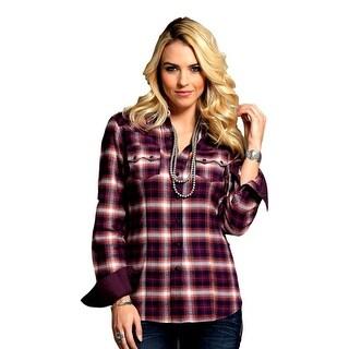 Cruel Girl Western Shirt Womens L/S Bias Twill Burgundy CTW7042002