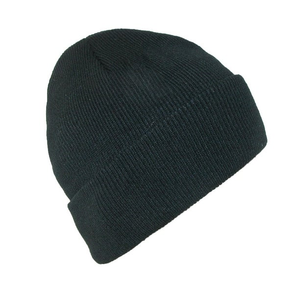 CTM® Men's Black Winter Stocking Knit Cuff Cap
