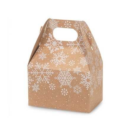 Pack Of 6 Kraft Snowflake Mini Gable Boxes 4 X 2 5 X 2 5 Perfect For Candy Favor Boxes Gift Basket Fillers Small Gift