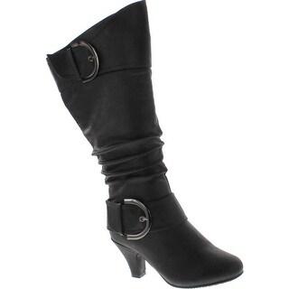 Top Moda Womens Bag-9 Knee High Buckle Slouched Kitten Heel Boots