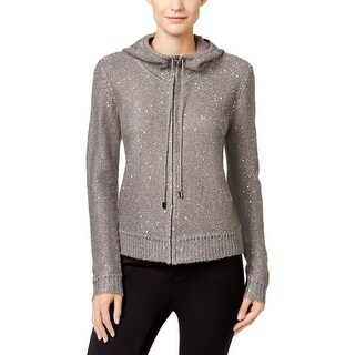 Anne Klein Womens Zip-Front Hoodie Sequined Knit (More options available)