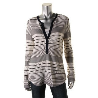 Sanctuary Womens Textured Striped Henley Top