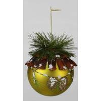 "Modern Lodge Frosted Pine Green Glitter Glass Christmas Ball Ornament 5"" (100mm)"