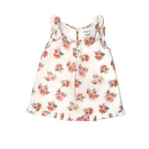 Coquelicot Baby Girls White Orange Flower Oporto Quisquilla Natalie Dress