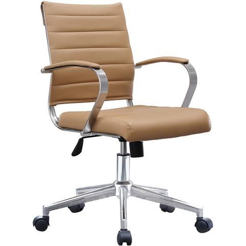 Modern Mid Back Ribbed PU Leather Swivel Tilt Adjustable Cushion Chair Designer Task Executive Manager Office