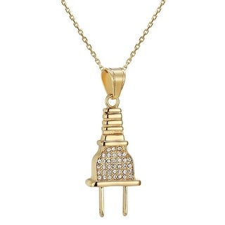 Designer Iced Out Plug Pendant For Ladies Stainless Steel Free Necklace