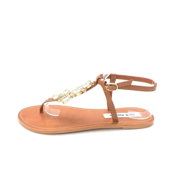 Steve Madden Womens Jewels Leather Split Toe Casual T-Strap, Cognac LE, Size 7.5