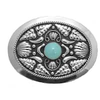 German Silver Tone Belt Buckle with Turquoise Stone