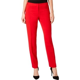 Calvin Klein Womens Petites Straight Leg Pants High-Rise Pleated