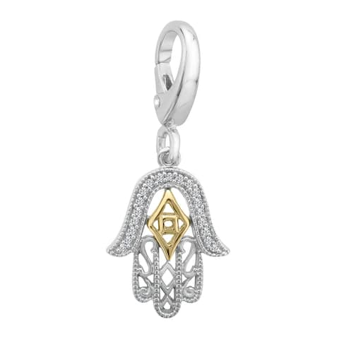 Hamsa Charm with Diamonds in Sterling Silver and 14K Gold