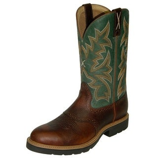 Twisted X Work Boots Mens Leather Steel Toe Cognac Dark Green MSC0005
